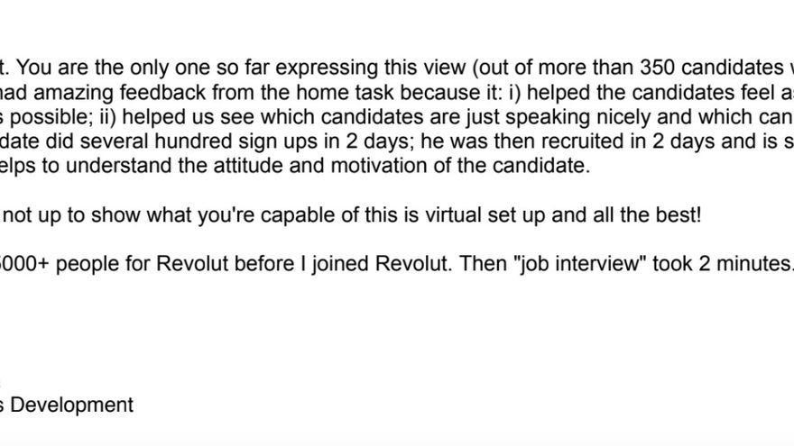 """Correo electrónico de disculpa de la jefa de recursos humanos de Revolut. """"Por favor, acepta nuestra disculpa. No pretendíamos causar tal reacción y frustración de tu parte. No queremos que la gente sienta que la usamos para conseguir usuarios""""."""