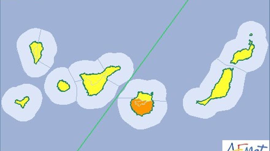 Aviso naranja en Gran Canaria y amarillo en el resto de islas