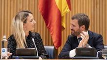 Cayetana Álvarez de Toledo y Pablo Casado, durante un acto en el Congreso de los Diputados.