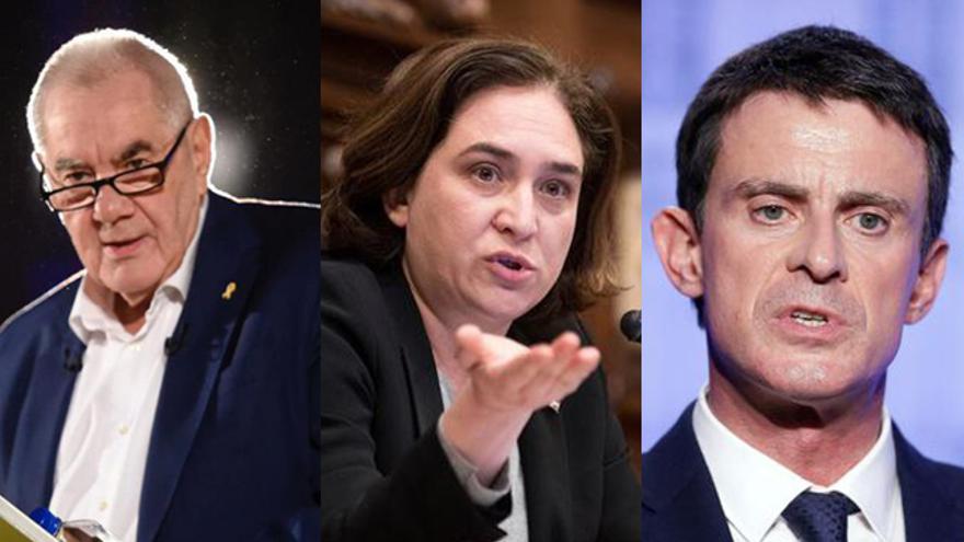 Ernest Maragall, Ada Colau y Manuel Valls.