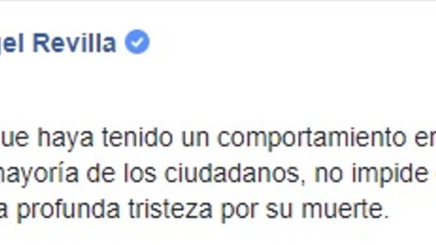 Miguel Ángel Revilla, el primer político en pronunciarse en las redes tras la muerte
