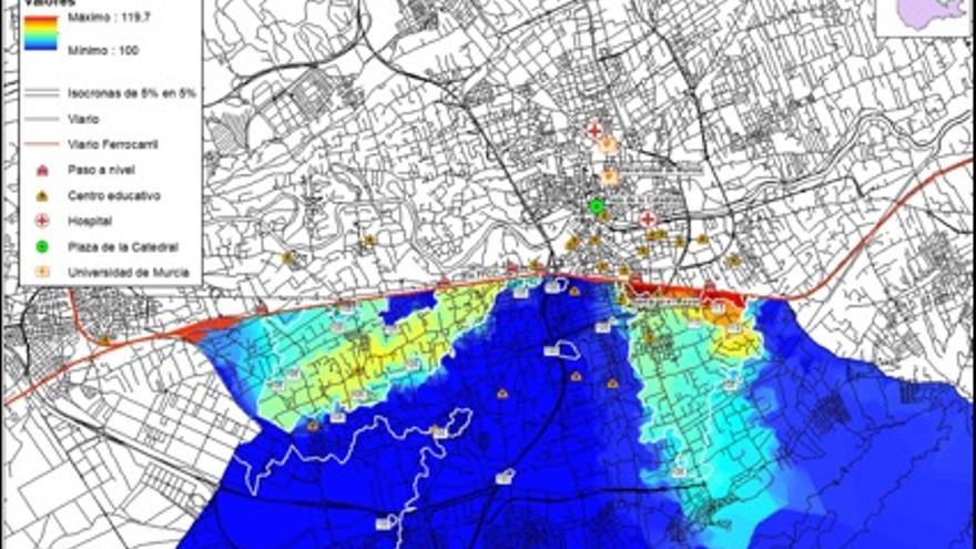 MAPA 2. Mapa de isocronas e incremento del coste de desplazamiento automovilístico ante la llegada del AVE en superficie.