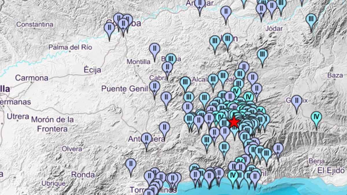 Mapa de intensidades del primer terremoto según el IGN.