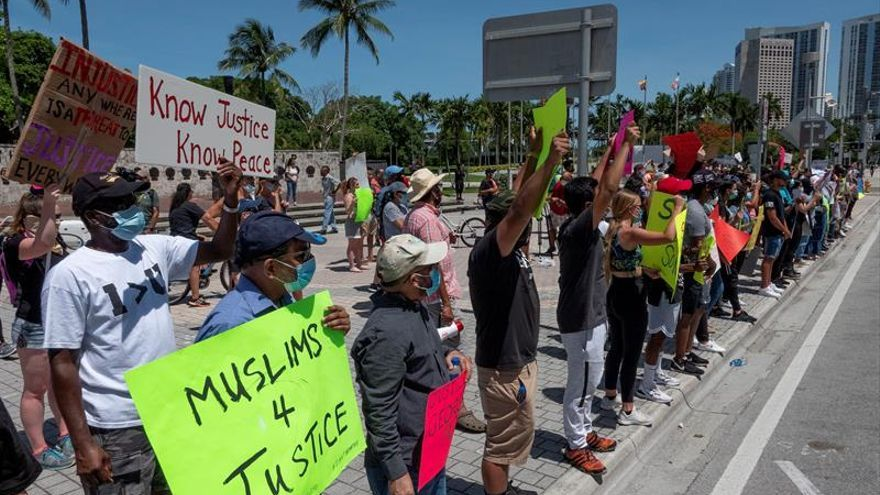 Protesters march through downtown Miami, response to the death of George Floyd, in Miami, Florida, USA, 31 May 2020.
