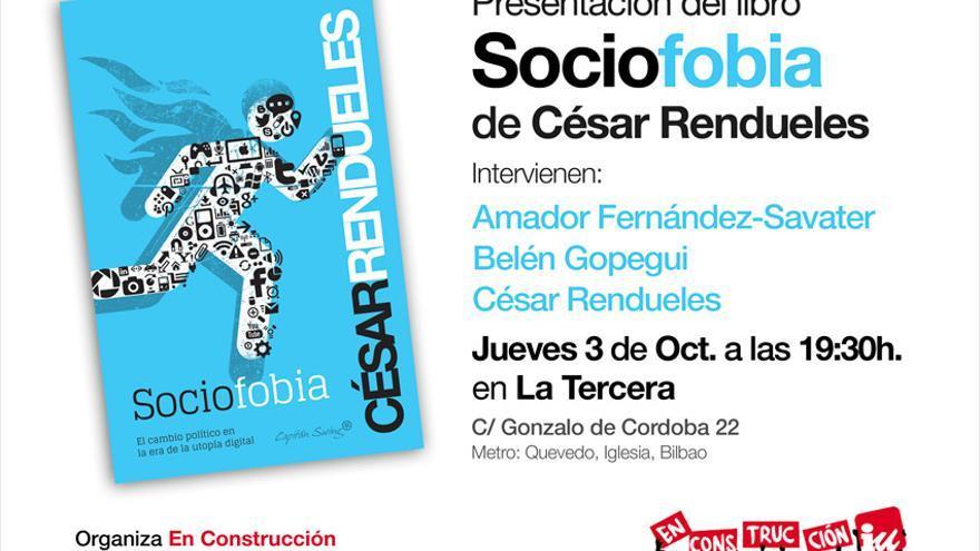 """Cartel de la presentación de """"Sociofobia"""" en La Tercera."""