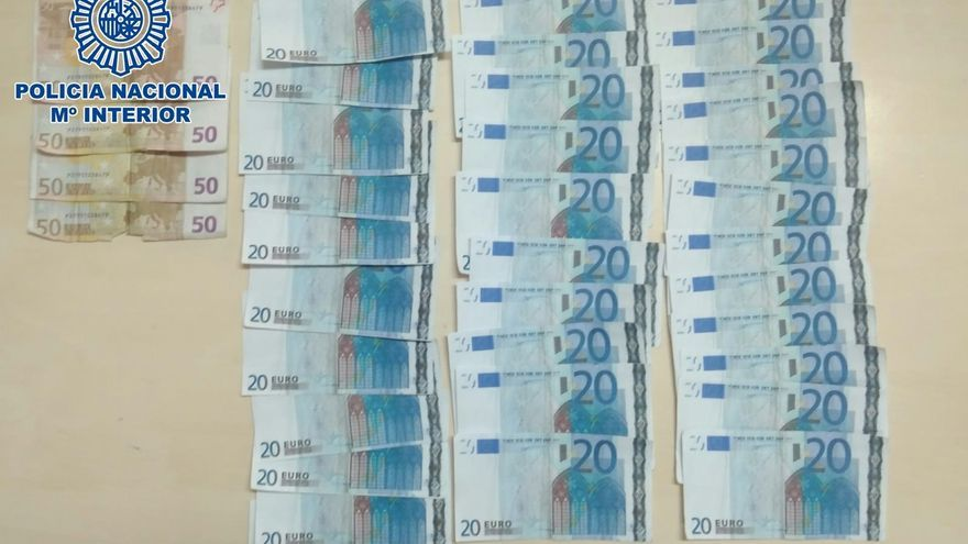 Billetes falsos incautados por la Policía en Santa María del Mar