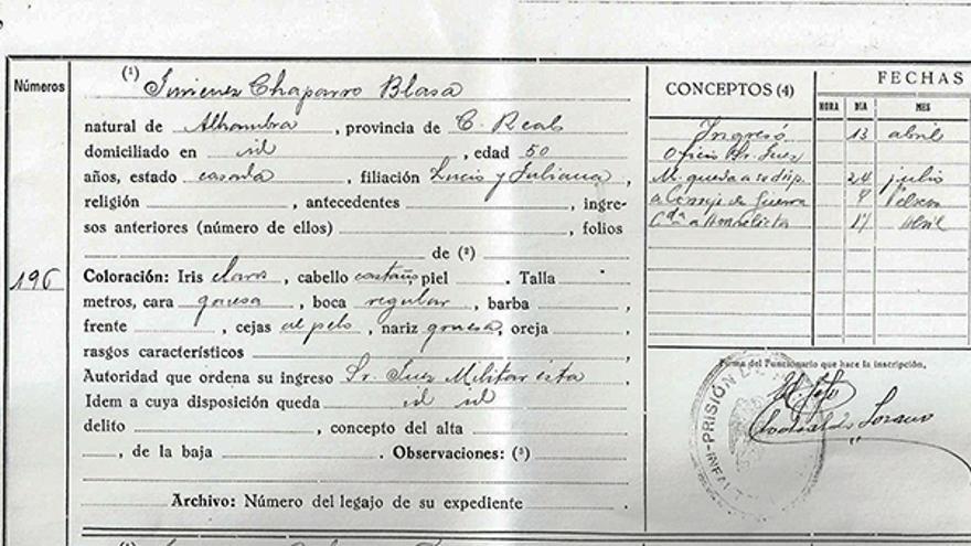 Ficha carcelaria de Blasa La Letrada. | AM DE VILLANUEVA DE LOS INFANTES