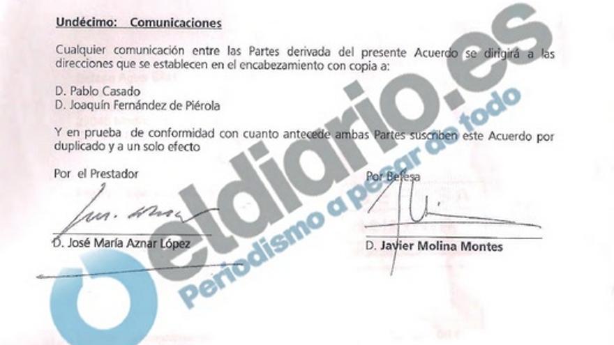 Cláusula 11ª del acuerdo firmado en septiembre de 2011 entre Aznar y Abengoa para mediar con el Gobierno libio.