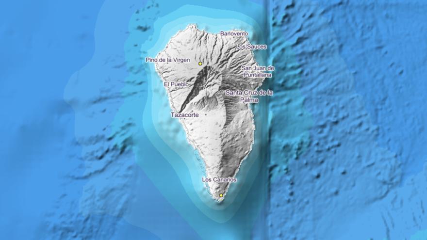 Imagen del IGN donde se indica el lugar exacto en el que se ha localizado el movimiento sísmico este  domingo, 1 de noviembre, en el municipio de Garafía. También señala el punto donde se detectó el pasado jueves, 28 de noviembre, otro pequeño terremoto, en Fuencaliente.
