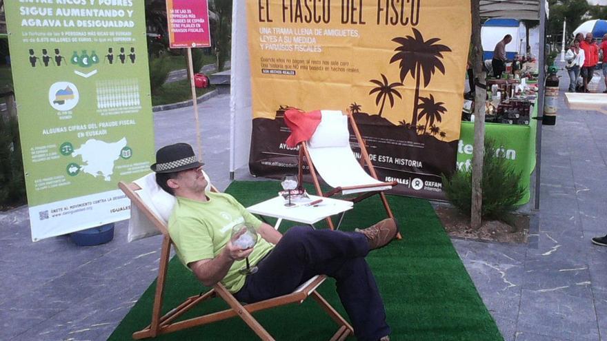 Acción ciudadana para protestar en contra de los Paraísos Fiscales.Imagen Oxfam Intermón