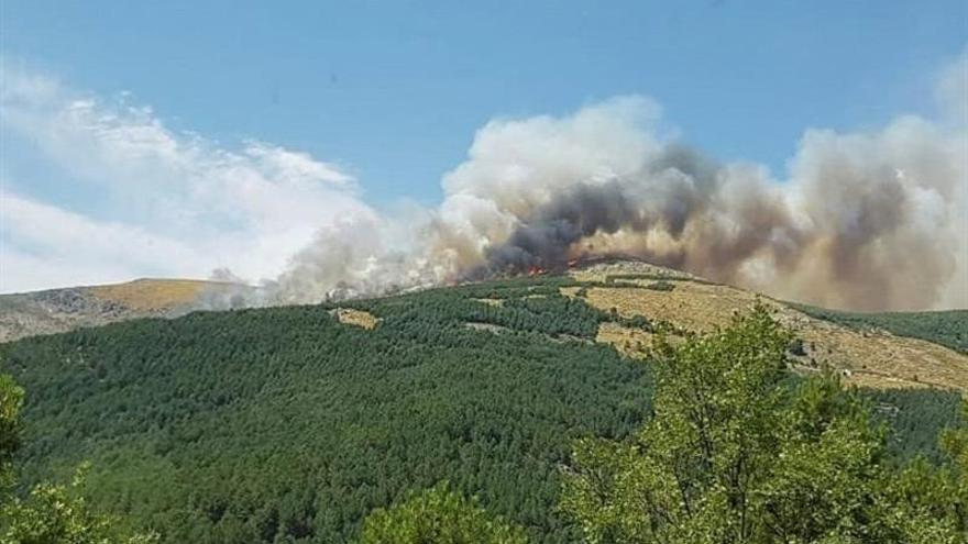 La altitud y el viento complican la extinción del incendio de Sotillo (Ávila)