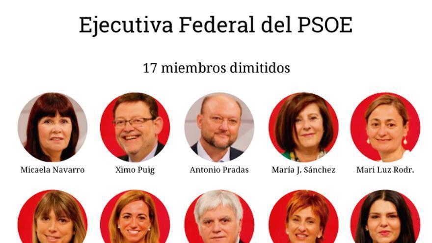 Las dimisiones de la Ejecutiva Federal del PSOE