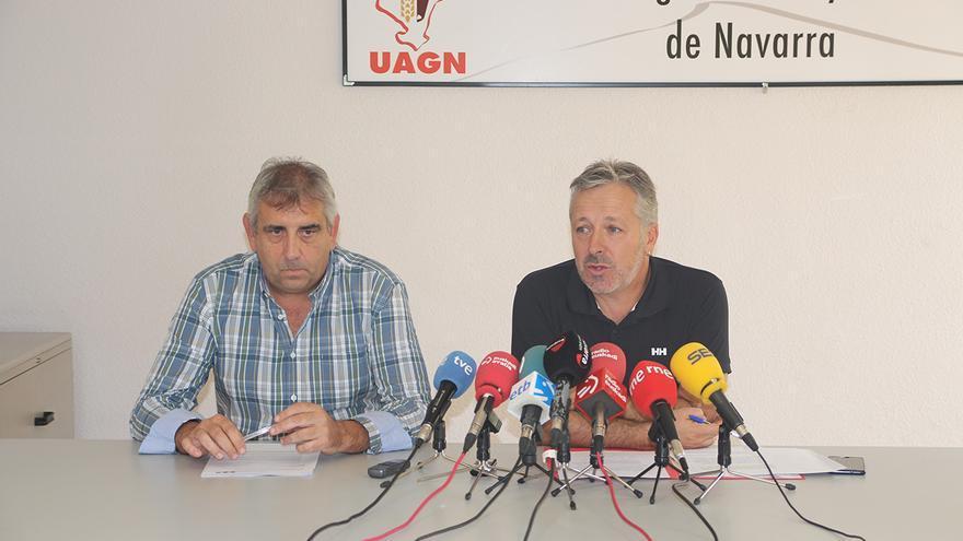 Félix Bariáin (dcha.), presidente del sindicato agrario navarro UAGN, y Luis Miguel Serrano, vicepresidente.