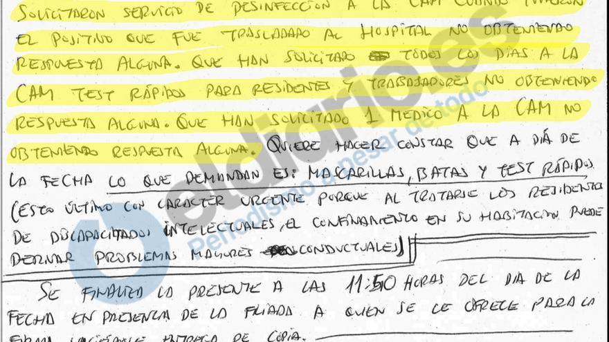Acta de inspección del Conjunto residencial Las Fuentes