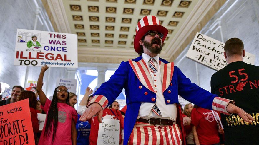 El pasado 5 de marzo se movilizaron los profesores de Virginia Occidental para pedir un aumento salarial.