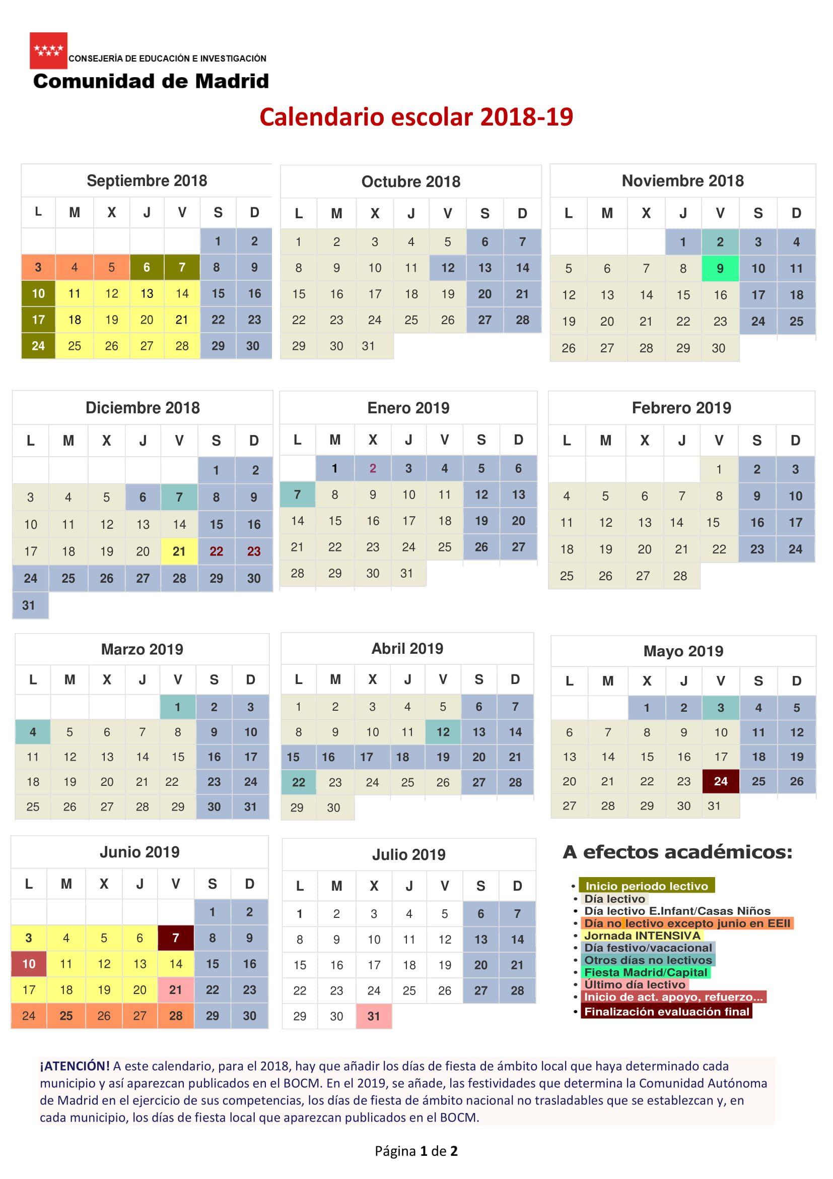 Calendario 2020 Mexico Con Dias Festivos Para Imprimir.Calendario Escolar 2018 2019 En Madrid Vacaciones Y Dias