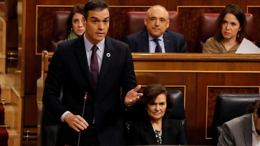 Pedro Sánchez durante la sesión de control al Gobierno.