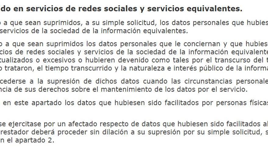 Artículo 94 de la Ley Orgánica de Protección de Datos y Garantía de los Derechos Digitales, sobre el derecho al olvido en las redes sociales.
