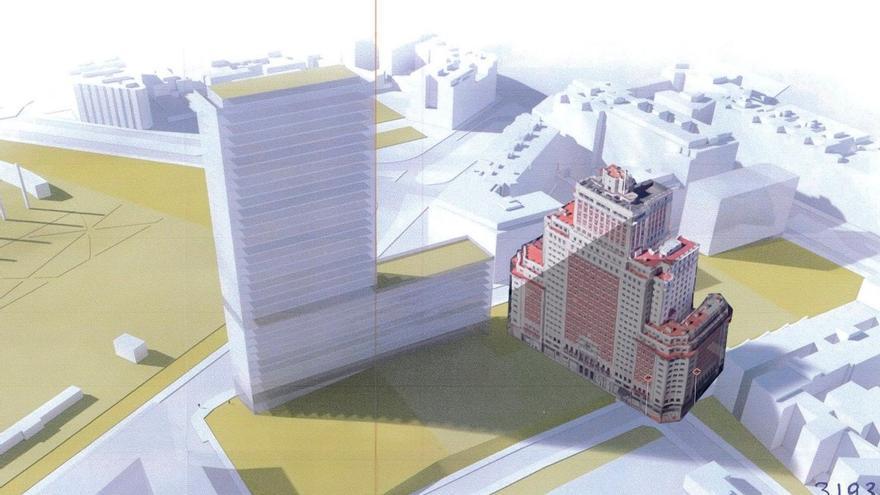 Comparación del tamaño de la Torre Metropolitan respecto al Edificio España | SALVEMOS COCHERAS CUATRO CAMINOS