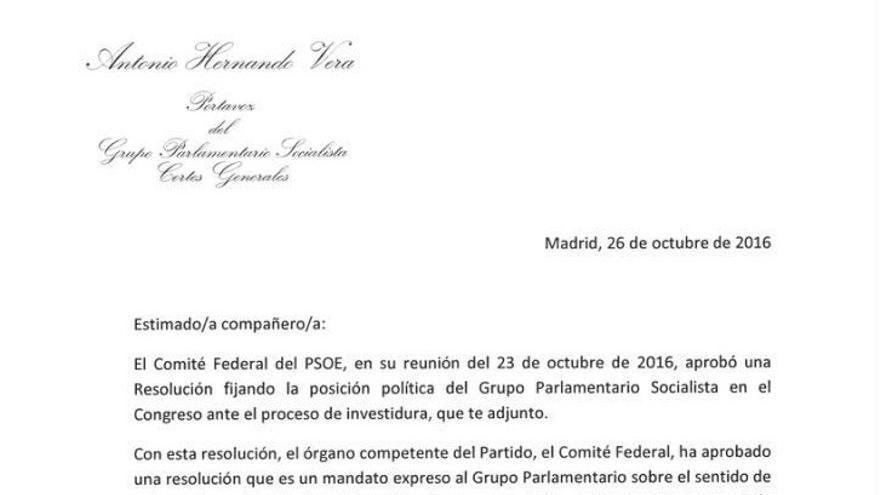 Carta de Antonio Hernando a los diputados del PSOE