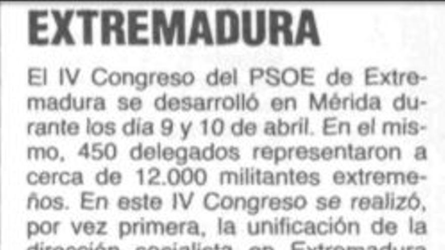 Primer congreso regional del PSOE Extremadura, abril de 1988, Mérida