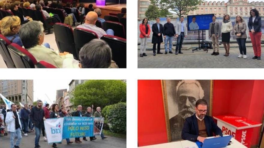 Actos de los candidatos de Ferrol en Común, PP, BNG y PSOE