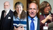 De izquierda a derecha, Vint Cerf, Radia Perlman, Tim Berners-Lee y Anriette Esterhuysen.