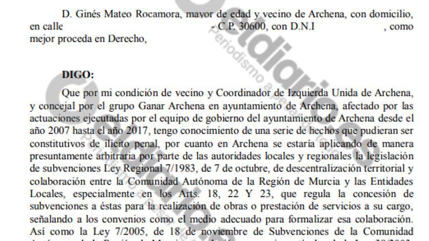 Denuncia al Ayuntamiento de Archena por presunto desvío de fondos públicos