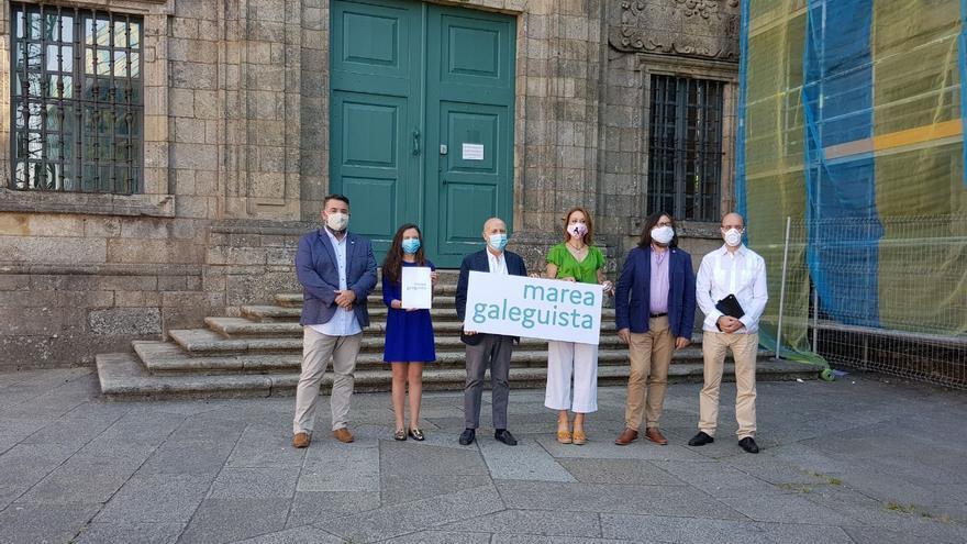 Presentación de la coalición Marea Galeguista, compuesta por En Marea, Compromiso por Galicia y el Partido Galeguista