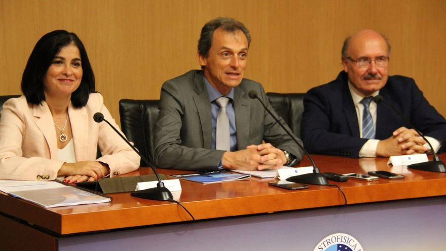 Pedro Duque este martes en rueda de prensa en Tenerife.
