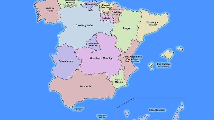 División de España en comunidades autónomas. (CA).