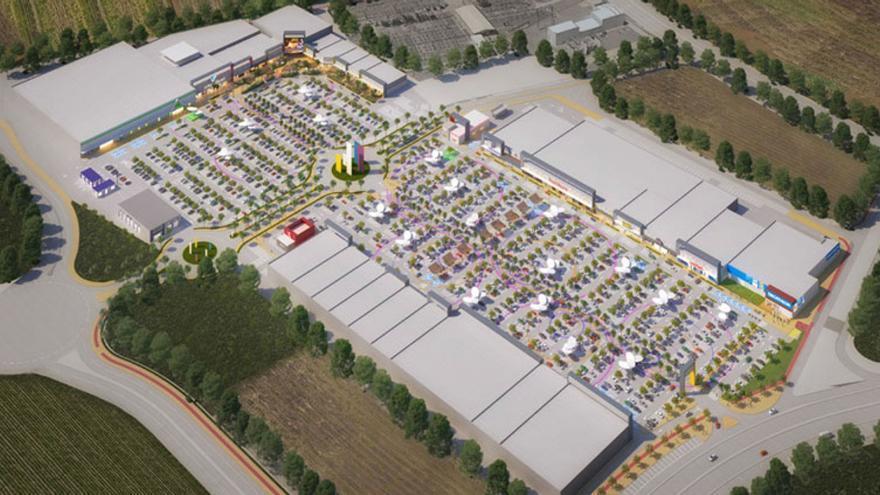 Una proyección del centro comercial que Lar España va a construir en Sagunto