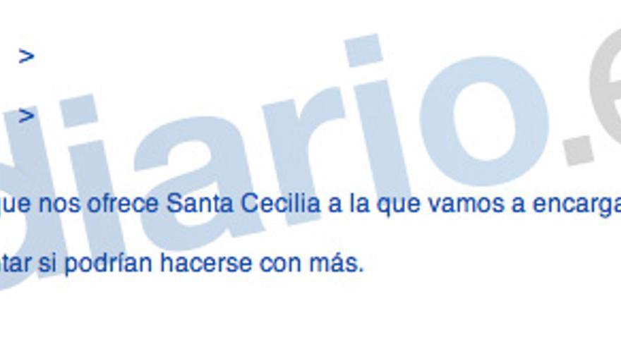 Mail de una empleada de Caja Madrid a Blesa sobre vinos