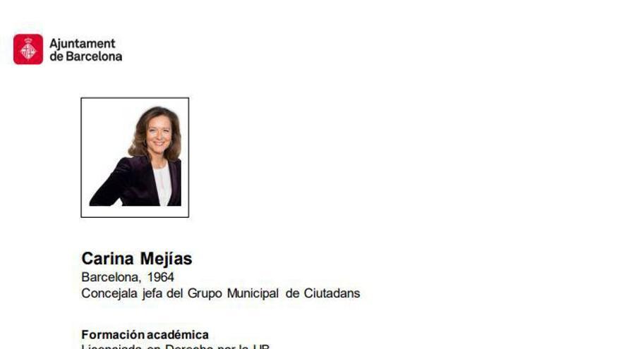 El currículum de Carina Mejías en el Ayuntamiento de Barcelona