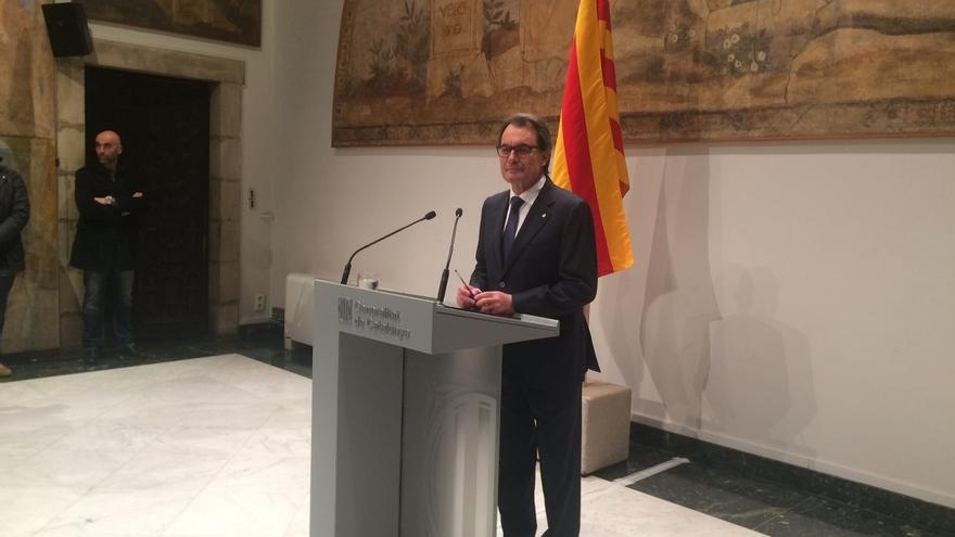Artur Mas durante su comparecencia en el Palau de la Generalitat