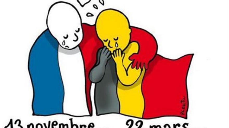Viñeta solidaria con los atentados de Bruselas