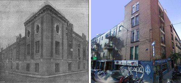 La Casa del Pueblo recién inaugurada junto a una imagen del edificio actual en el número 2 de la calle Piamonte | Fotografía antigua: El Socialista