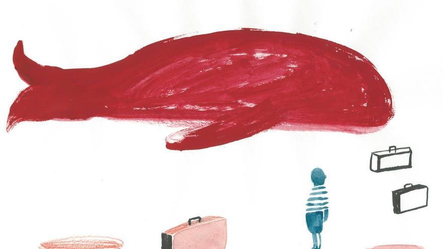 ¿Cómo meter una ballena en una maleta? Ilustración de Guridi