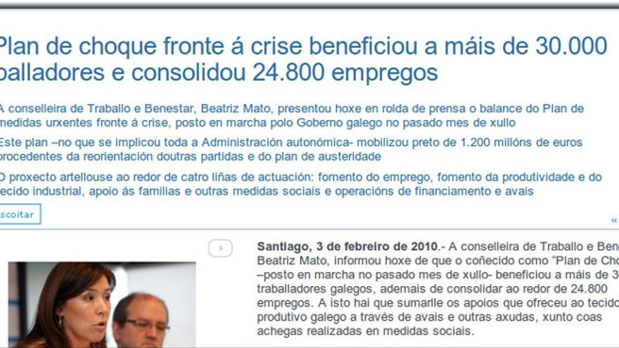 """Comunicado sobre el """"plan de choque"""" difundido por la Xunta en 2010"""