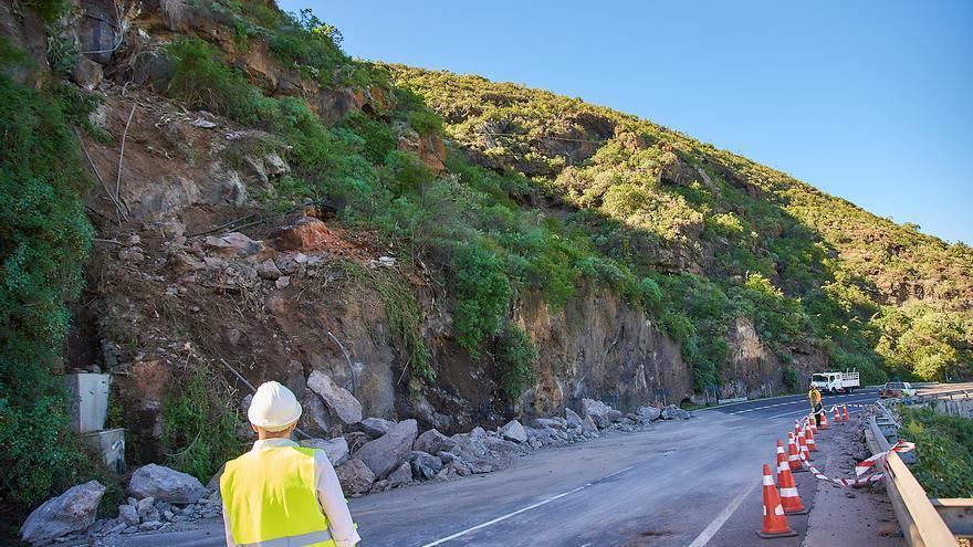 Imagen de la zona del desprendimiento, en el acantilado entre Icod y El Guincho, en Garachico