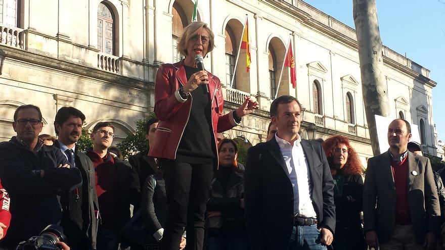 Rosa Díez en la presentación de la candidatura andaluza de UPyD.