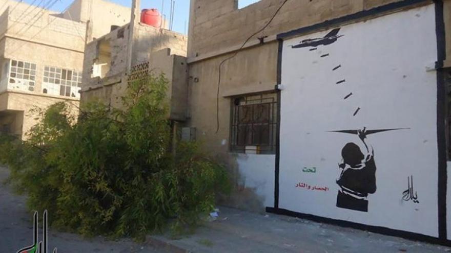 El mayor graffiti creado en Siria, ciudad de Yalda. Fuente: Syria Untold