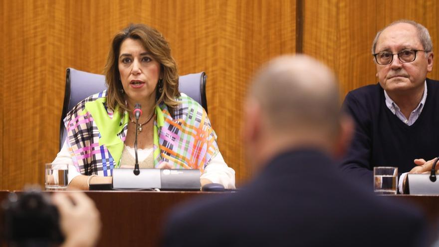 Susana Díaz, líder del PSOE andaluz, en el Parlamento.