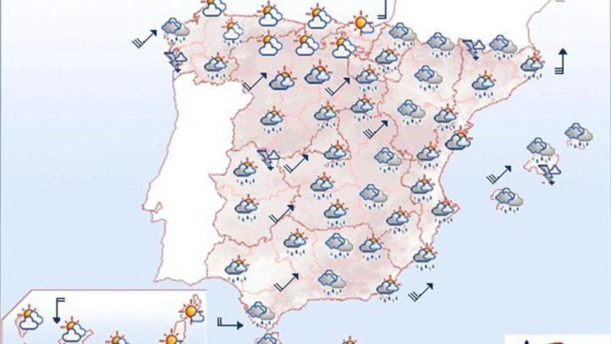 Mañana lluvias en Pirineos, suroeste y Galicia, donde soplará viento fuerte
