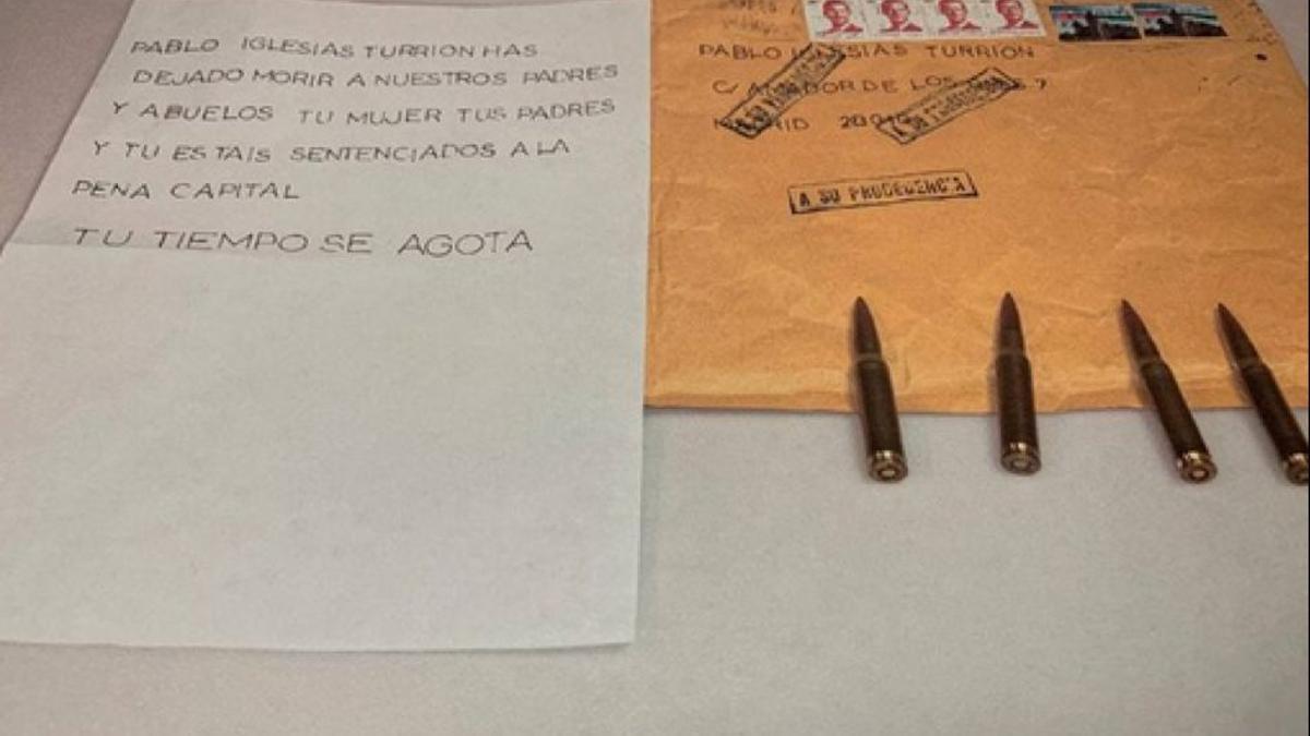 Carta con balas y amenazas a Pablo Iglesias
