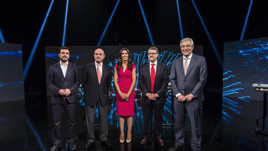Alberto Garzón, Luis de Guindos, Jordi Sevilla y Luis Garicano en el debate económico de El Objetivo