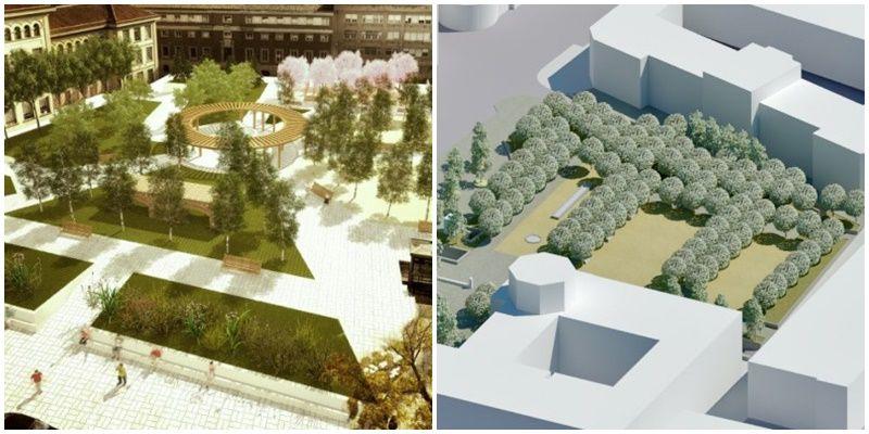 Infografía del Proyecto O (izquierda), junto a la de la nueva propuesta para los jardines (derecha)
