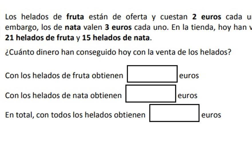 Ejemplo de la prueba de competencia matemática 3º Primaria.