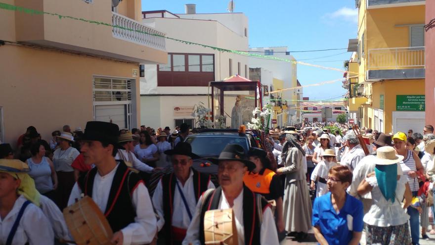 Imagen de la virgen de Fátima, en la romería de este domingo