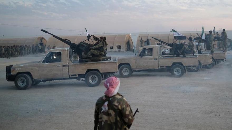Soldados durante la ofensiva turca en Siria.